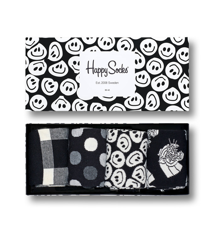 Skarpetki Happy Socks Gift Box 4-Pack Black